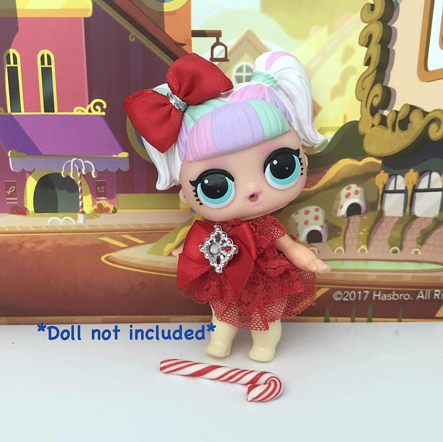 LOL Accessories 3PC Lot Christmas Dress Bow Candy Cane DOLL NOT INCLUDED …