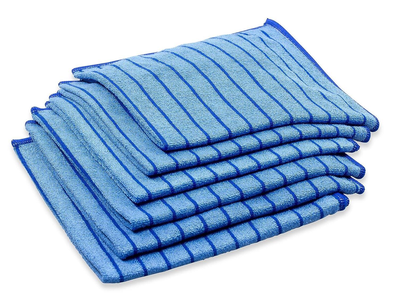 Respekt - Strofinacci in microfibra, 6 pezzi, 40 x 40 cm, blu