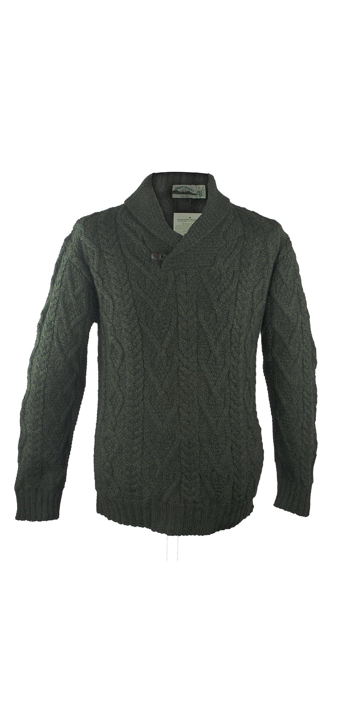 Irish Merino Wool Shawl Collar Aran Sweater, Army Green,