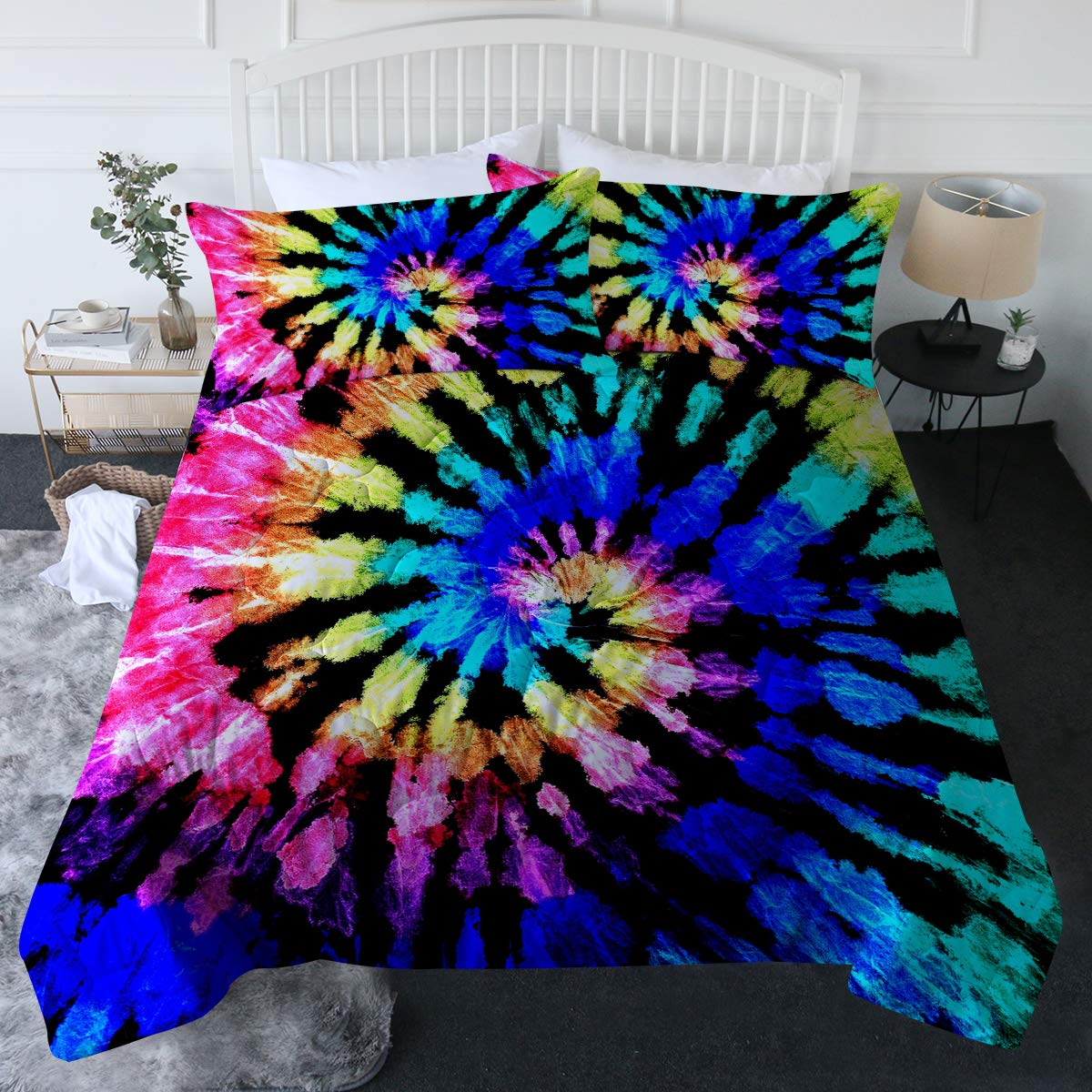 BlessLiving 3 Piece Tie Dye Comforter Set with Pillow Shams – Colorful Hippie Bedding Set with 3D Printed Designs Reversible Comforter Full/Queen Size – Soft Comfortable Machine Washable