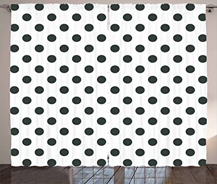ambesonne retro curtains nostalgic polka dots pattern with large round circles minimalist modern art print - Retro Curtains