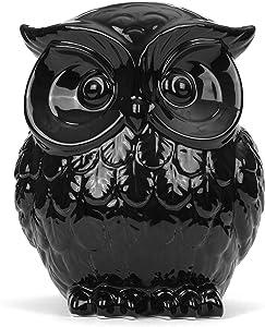 Milltown Merchants Owl Figurine - Ceramic Owl - Owl Decor - Black Ceramic Owl Statue (Large - 7.5