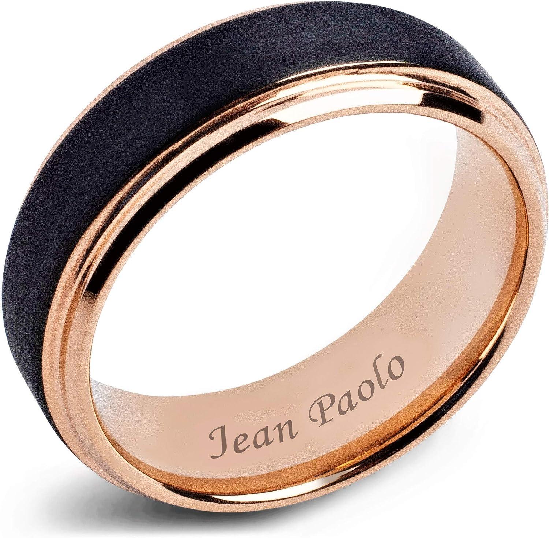 Rose Gold Tungsten Ring Polished Rose Gold Wedding Band 8mm Tungsten Carbide Mens Wedding Band Engagement Ring For Men Black Rose Gold Ring