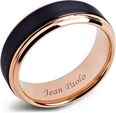 Amazon Com Jean Paolo Mens Wedding Bands 8mm Black And Rose Gold Tungsten Rings For Men Women Engagement Comfort Fit Jewelry