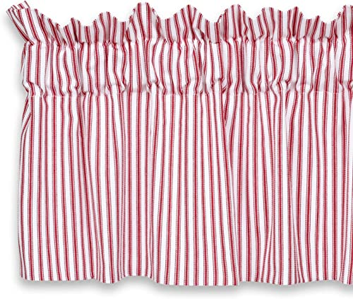 Cackleberry Home Red and White Ticking Stripe Valance Curtain Woven Cotton Lined 72 Inches W x 17 Inches L