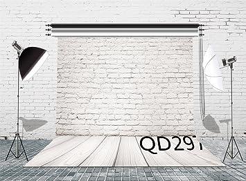 8X10FT-White Brick Wall Lighting Photograph Backdrop Wood Floor Photo Studio Background