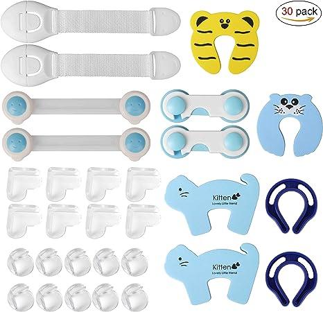 Kit Seguridad Bebe Seguridad Bloqueo Protector de Seguridad para Niños Protectores Puertas Pegamento de Acrílico Más Fuerte 30 piezas: Amazon.es: Bebé