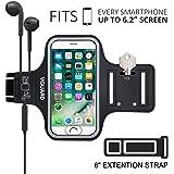 VGUARD Fascia Da Braccio Sportiva Universale 6.2'' Resistente all'Acqua Sweatproof Bracciale per Corsa & Esercizi con Cinturino Regolabile, Portachiavi, Porta Scheda e Riflettente Armband per Smartphone meno di 6.2 pollici come iPhone X / 8 Plus / 7 Plus / 6s Plus / 7 / 6 / 6s / 5s / 5c / 5 , Samsung Galaxy S8+ / S8 / S7 / S7 Edge / S6 / S5, Huawei P10 / P9 / Honor 8, Nexus 6P / 5X, ASUS, LG, Motorola, ecc (Nero)