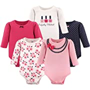 Little Treasure Baby Cotton Bodysuits, Polished 5Pk Long Sleeve, 0-3 Months (3M)