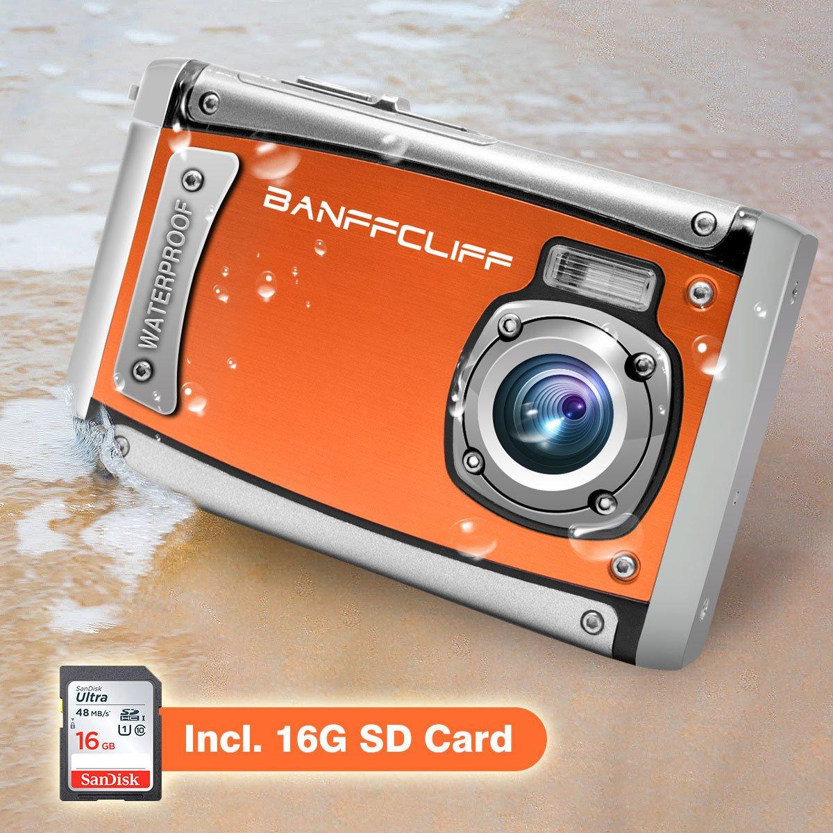 "BanffCliff Waterproof Digital Camera, 21MP 1080P HD Anti-Shock 3 Meter Underwater Action Cam, 2.4"" LCD Screen Flash Mic IP68 Camcorder 8X Digital Zoom Water Sports Video Recorder 16G SD Card Included"