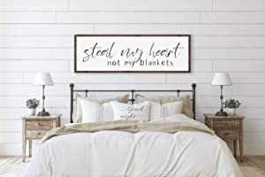 Steal My Heart Not My Blankets | Over The Bed Sign | Master Bedroom Decor | Bedroom Sign | Bedroom Wall Decor | Above Bed Sign | Wall Art