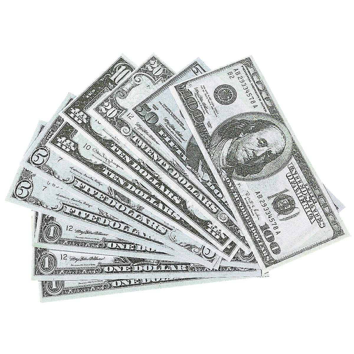 Kicko Play Money - 2 Packs of 100 - 4 X 1.75 Inches, Includes 1, 5, 10, 20, 50 and 100 Fake Dollar Bills - Pretend Play for Kids, Great Toy, Party Favors, Bag Stuffers, Fun, Gift, Prize by Kicko