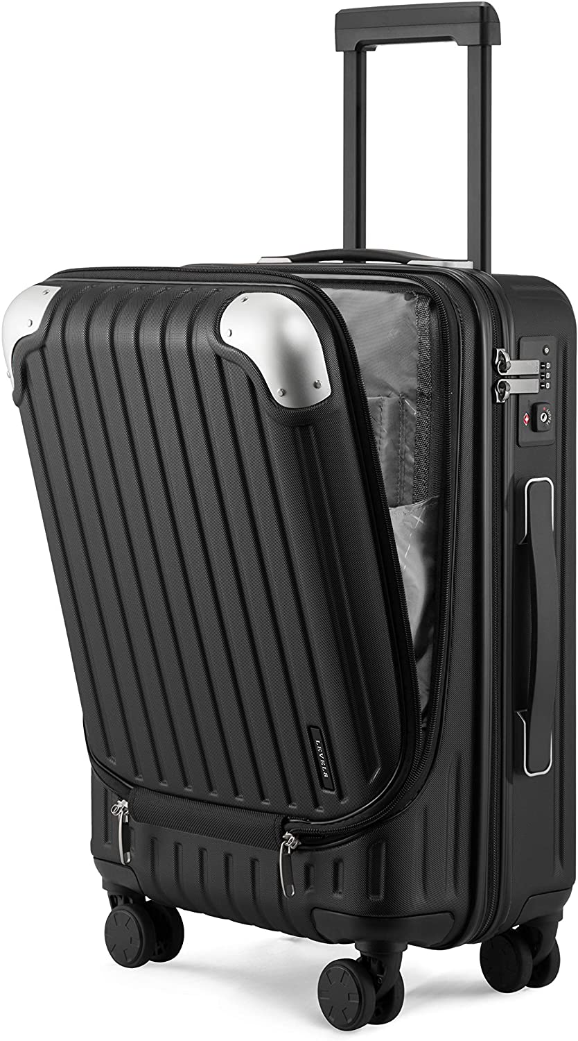 """LEVEL8 Luggage Hardside Suitcase PC+ABS Spinner Built-in TSA Lock, Carry on 20"""" (Black)"""