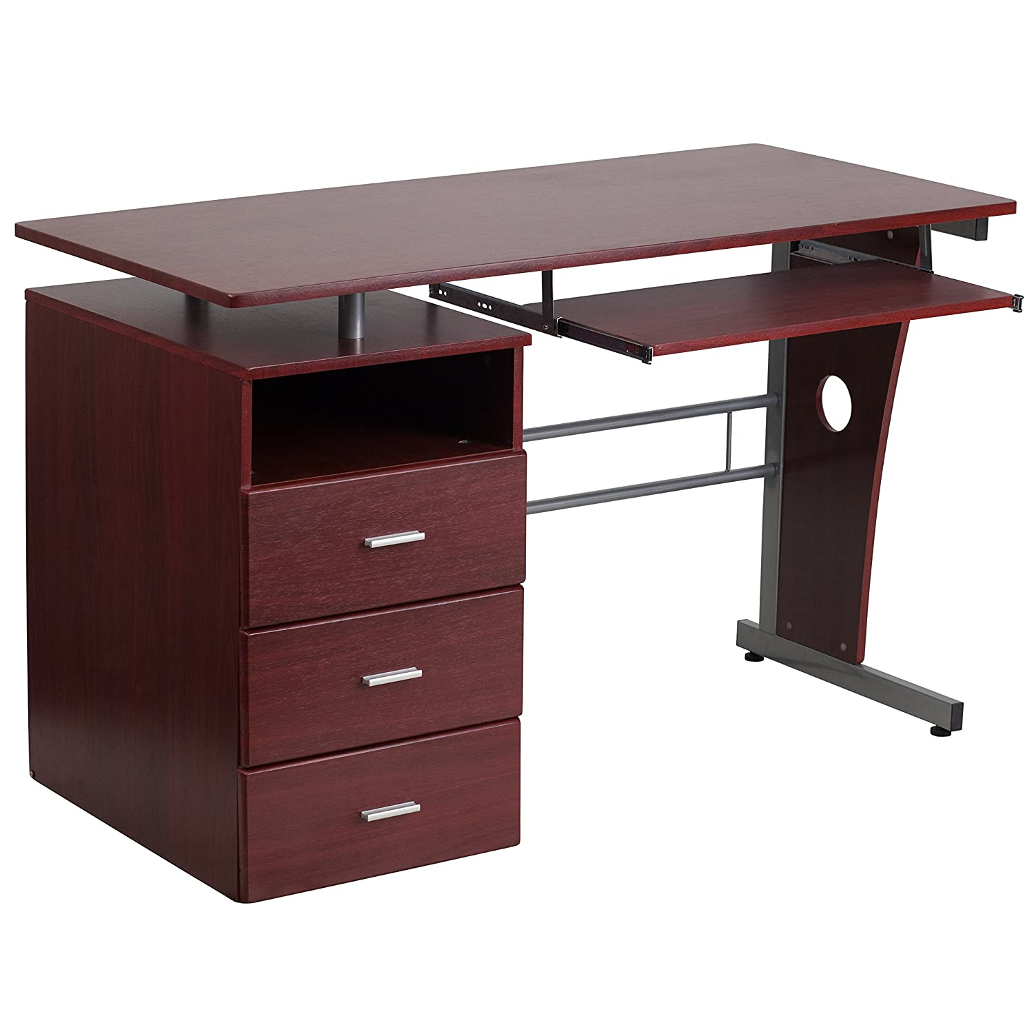 Amazon com flash furniture mahogany desk with three drawer pedestal and pull out keyboard tray kitchen dining