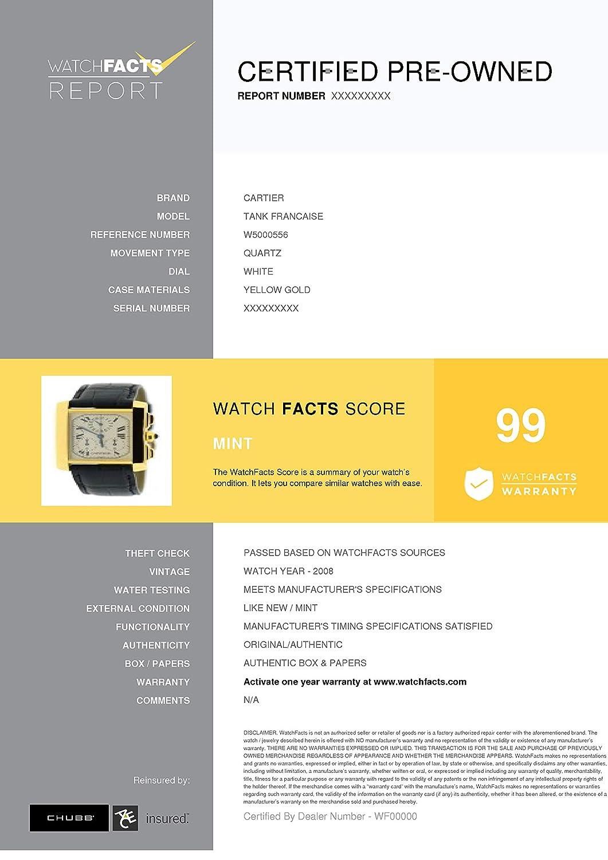 dd87d469772 Amazon.com  Cartier Tank Francaise Quartz Female Watch W5000556 (Certified  Pre-Owned)  Cartier  Watches