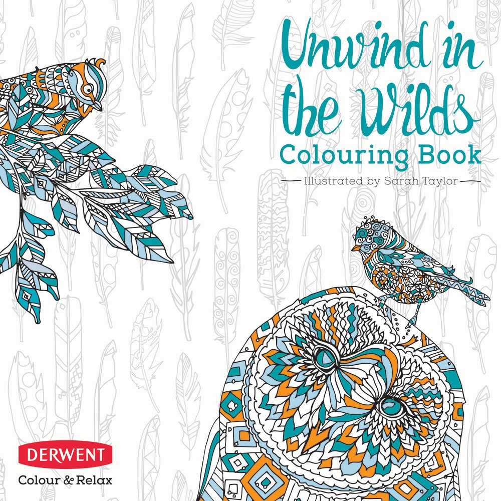 Derwent Unwind in The Wilds Colouring Book with 10 Coloursoft Pencils, 96 Pages (89 Illustrations) (2302339)