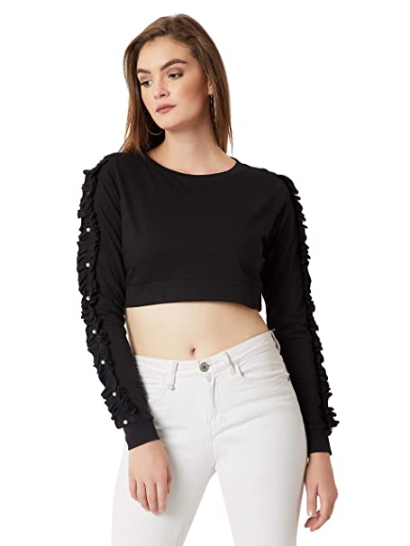 404233ac12144a Miss Chase Women s Black Ruffled Pearl Crop Top(MCAW18TP11-46-62-02 Black X