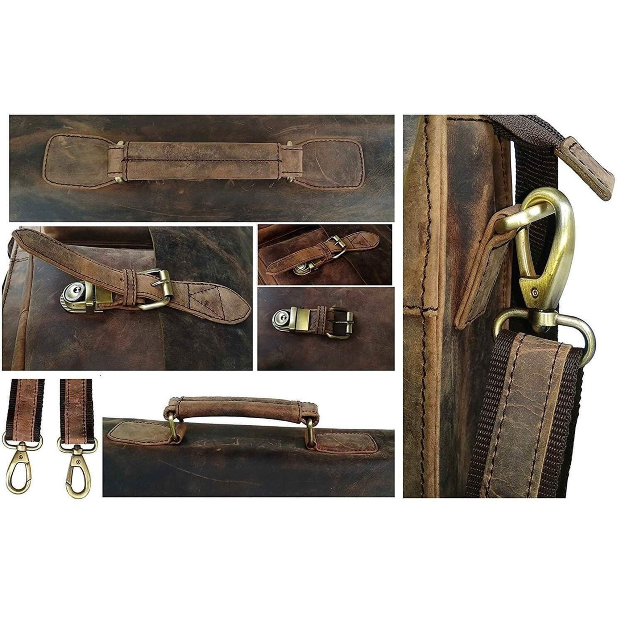 Retro Buffalo Hunter Leather Laptop Messenger Bag Office Briefcase College Bag by Urban Hide (18'') by Urban Hide (Image #7)