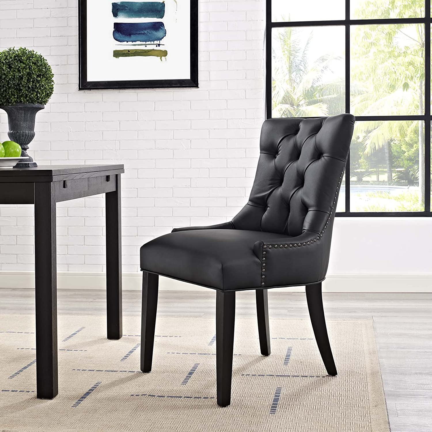 Modway MO-EEI-2222-BLK Regent Modern Tufted Faux Leather Upholstered with Nailhead Trim, Dining Chair, Black
