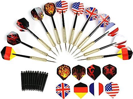 GWHOLE 12 Dardos de Acero con Patrón de Bandera/Fuego Puntas Metálicas + 12 Varillas + 28 Plumas: Amazon.es: Deportes y aire libre