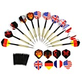 GWHOLE 12 Pcs Tip Darts with National Flag Flights, Extra 16 Flights and 12 Shafts Included