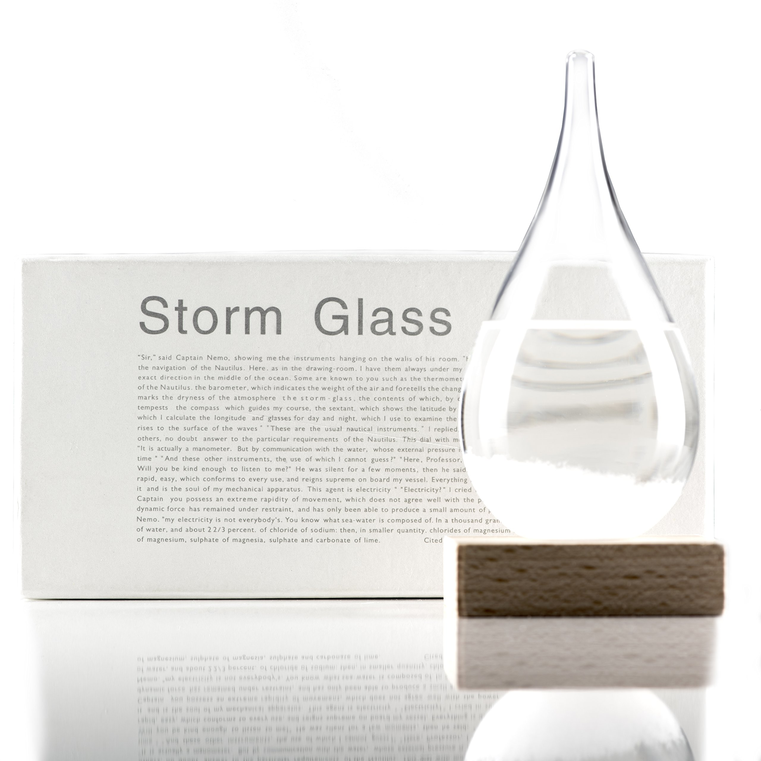 Storm Glass - Decorative and Unique Weather Forecaster - Antique Crystal Forecasting Predictor used by Admiral Fitzroy - Weather Predicting Storm Glass - Teardrop Shaped Barometer with Wooden Base