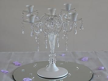 Amazon.de: 5 armig kristall glas kerzenständer tischdekoration 30 cm