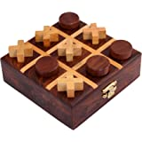 ITOS365 Handmade Wooden Tic Tac Toe Game Gifts for Kids, 4.5 x 4.5 inches