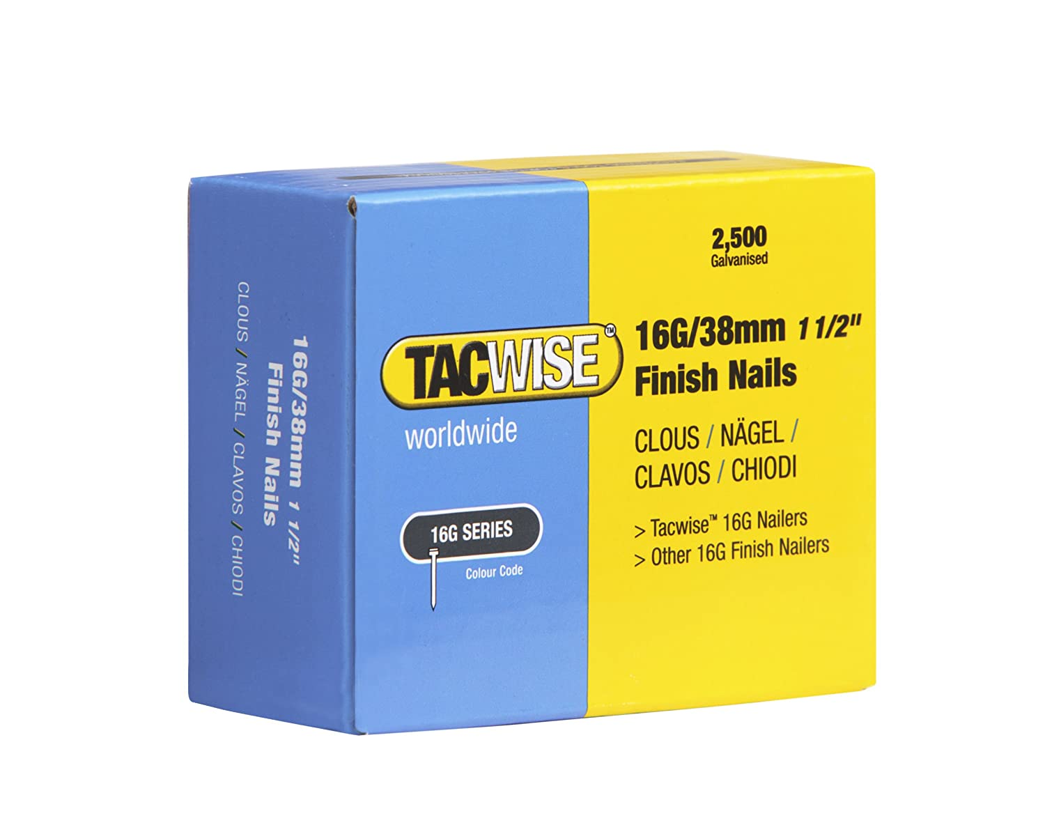 Tacwise 0296 Clous de Finition 16 GA/38 mm Lot de 2 500 Piè ces