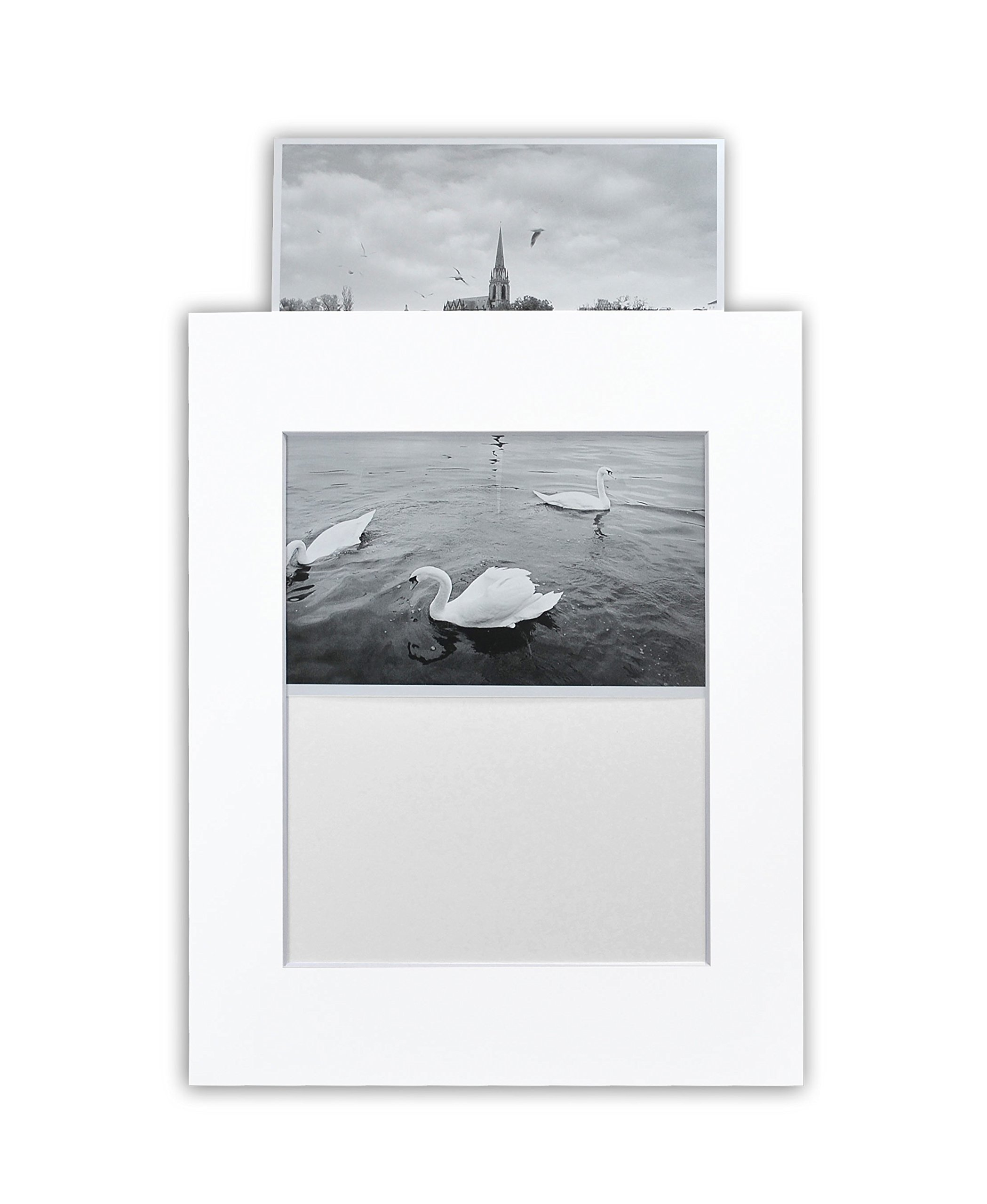 Golden State Art, Pack of 25 White 11x14 Slip-in Pre-adhesive Photo Mat for 8x10 picture with backing board pre-assembled, Includes 25 clear bags
