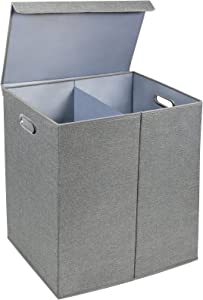 Greenco Nonwoven Foldable Double Hamper Laundry Sorter with Divider, Removable Cover Magnetic Lid Closure, Build in Side Carrying Handles – Gray