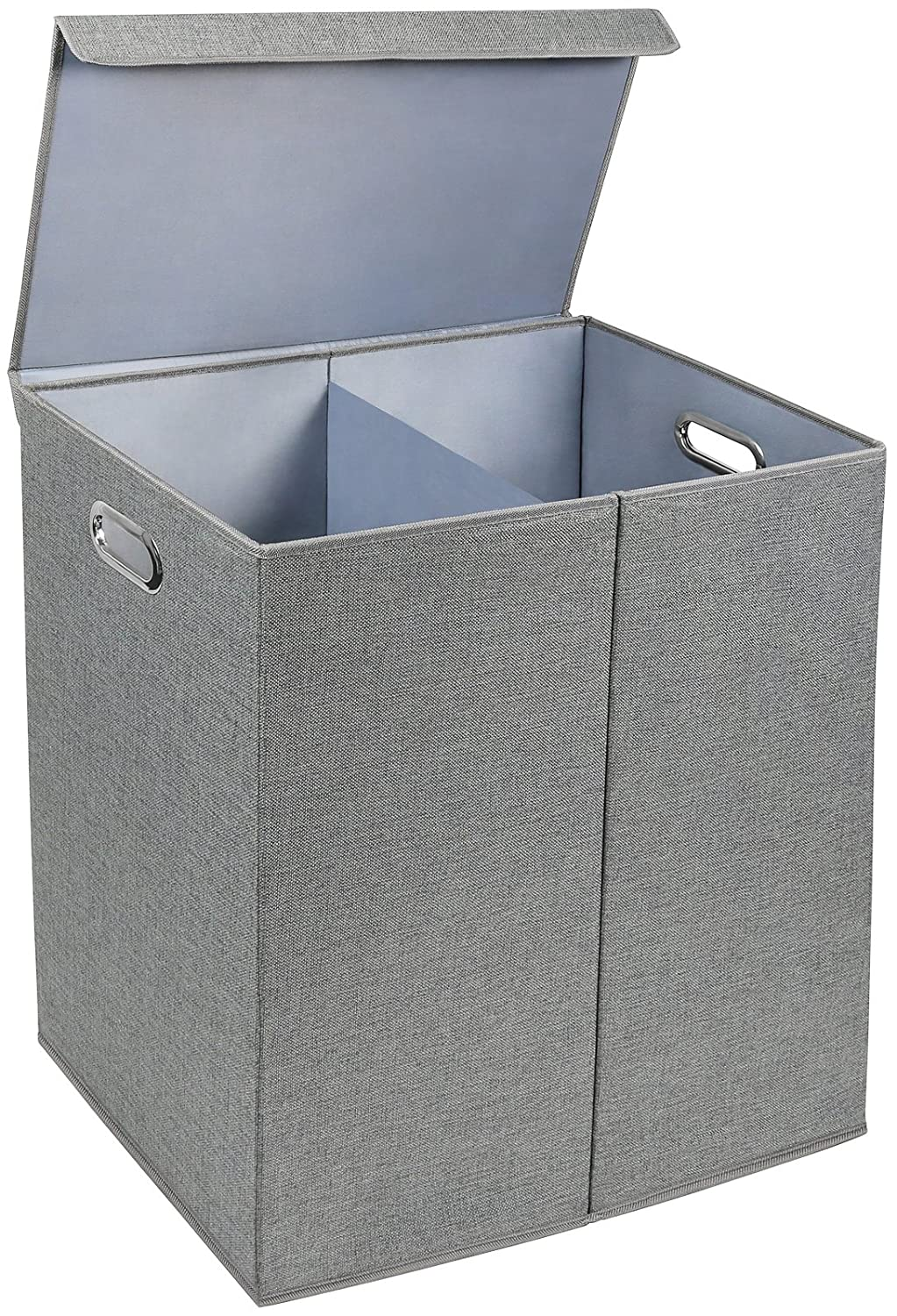 Greenco Nonwoven Foldable Double Hamper Laundry Sorter with Divider, Removable Cover Magnetic Lid Closure, Build in Side Carrying Handles – Gray GRC2869