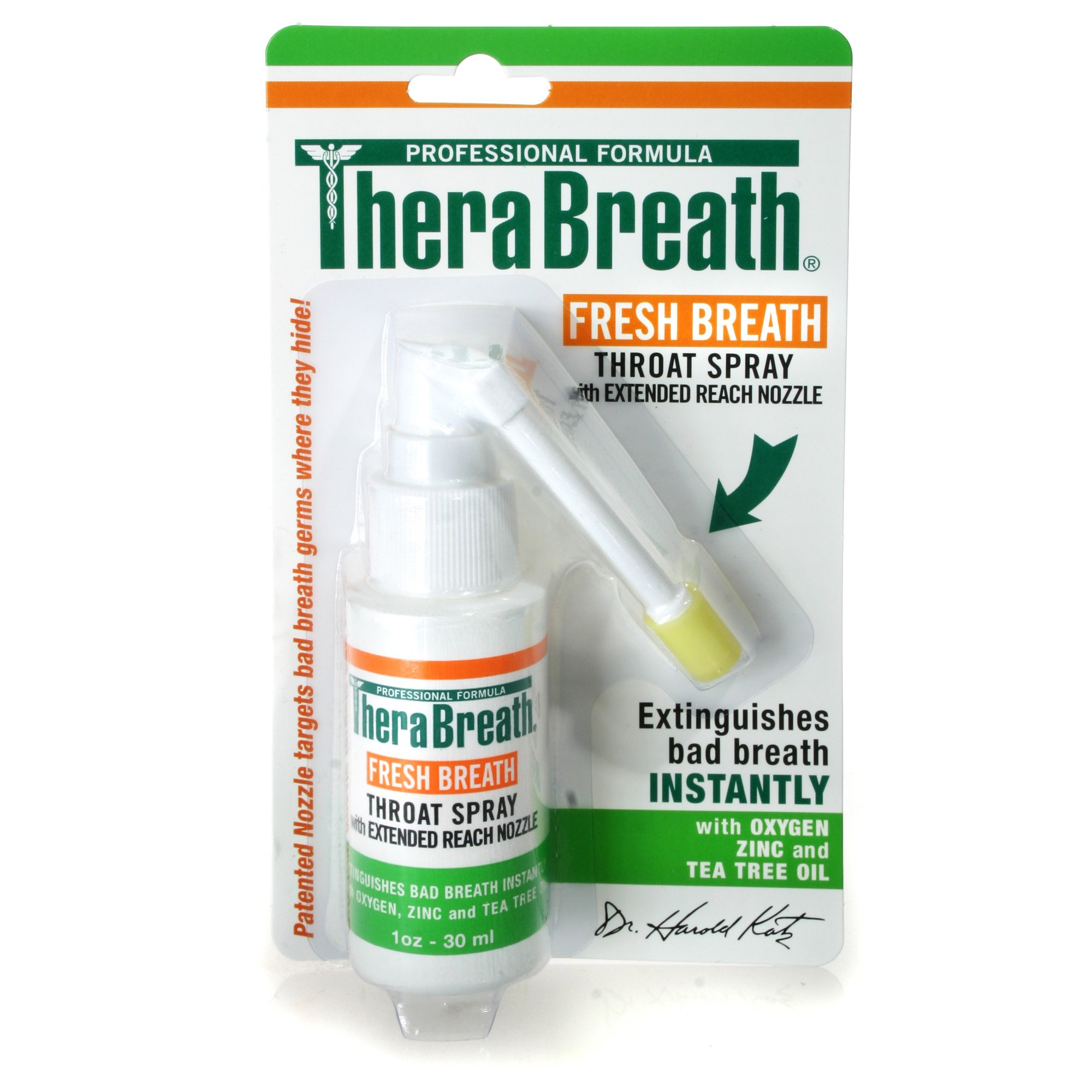 TheraBreath Fresh Breath Spray – Dentist Formulated – Maximum-Strength - Extinguisher Spray – Stops Halitosis – Certified Gluten-Free – Approved for Diabetics – 1 Ounce – One-Pack