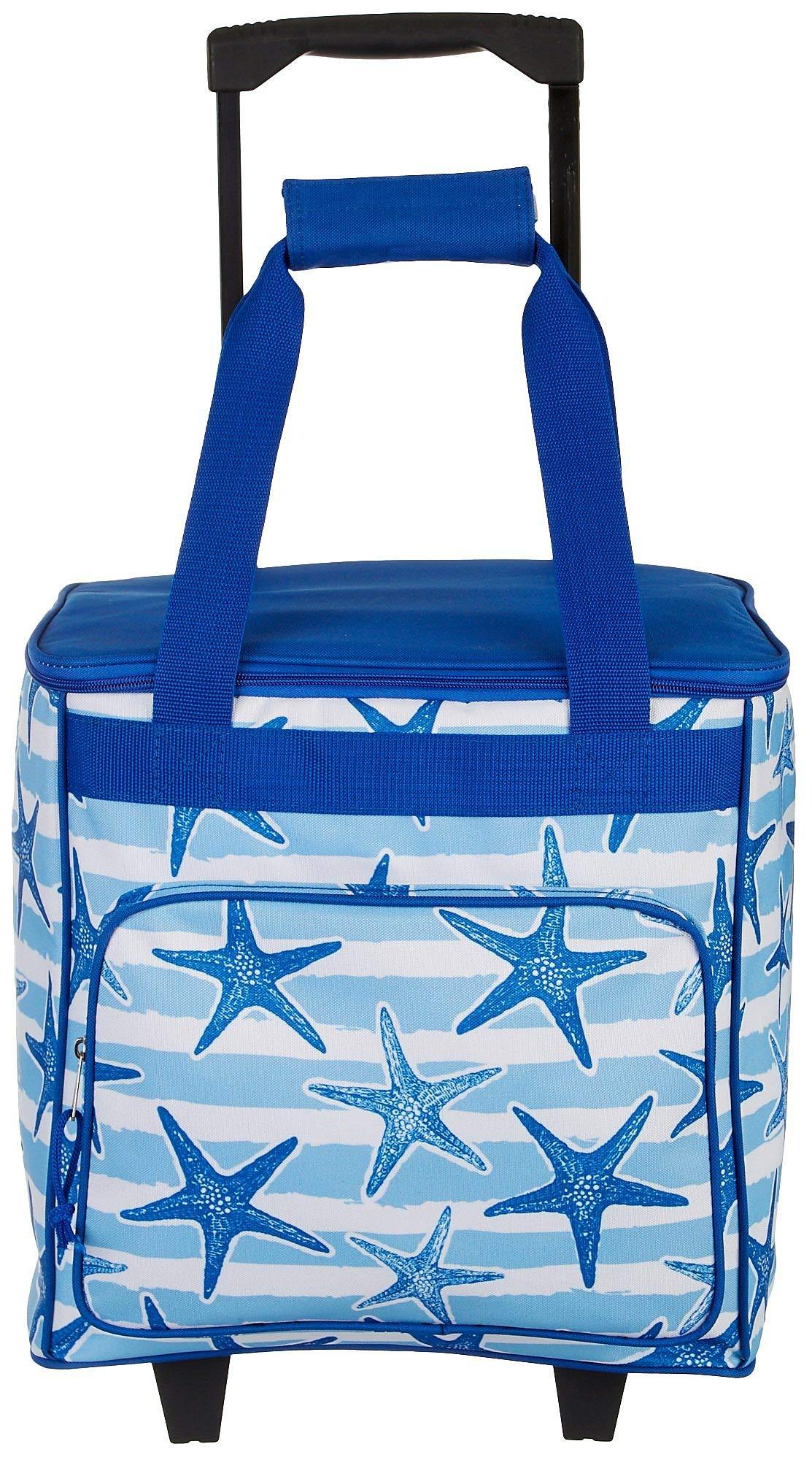 Tropix Starfish Stripes Rolling Cooler One Size Blue/White