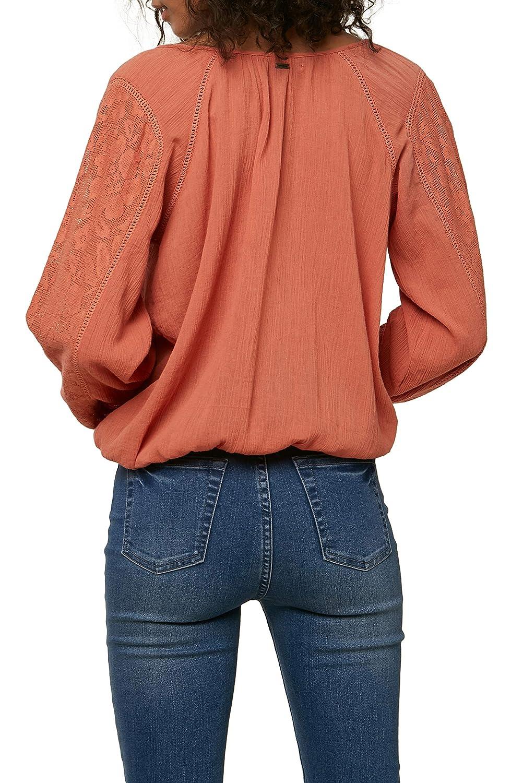 ONEILL Womens Lightweight Lace V-Neck Woven Long Sleeve Shirt Top