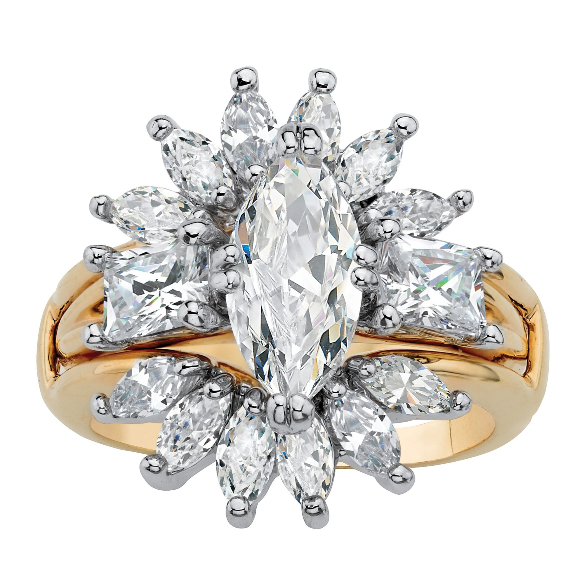 Palm Beach Jewelry 14K Yellow Gold-Plated Marquise Cut Cubic Zirconia Starburst Bridal Jacket Ring Set Size 7
