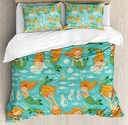 Queen Duvet Cove with Zipper Closure 4 Piece Mermaid Decor Underwater  Cartoon World Little Mermaid Girls 376be8c77