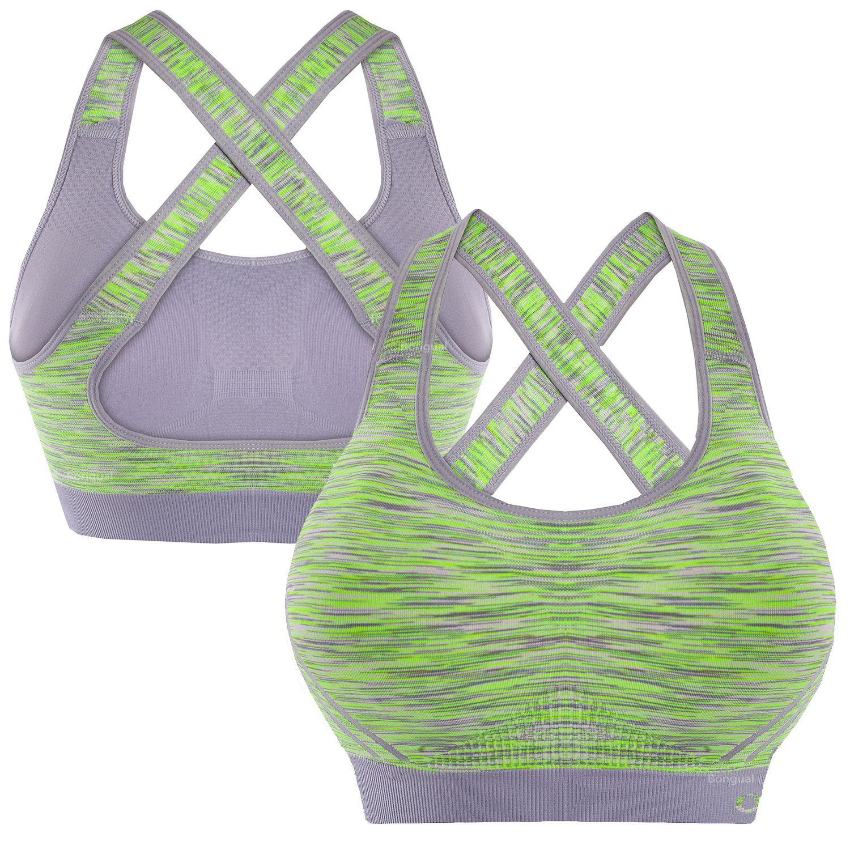 Bongual Damen ZweiteilerTrainingsanzug Fitnessset Sport-BH+Shorts Running Fitnessstudio Yoga