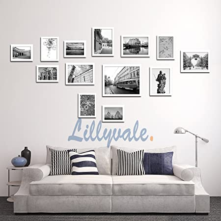 Large multi picture photo frame frames wall set 13 pieces black white black