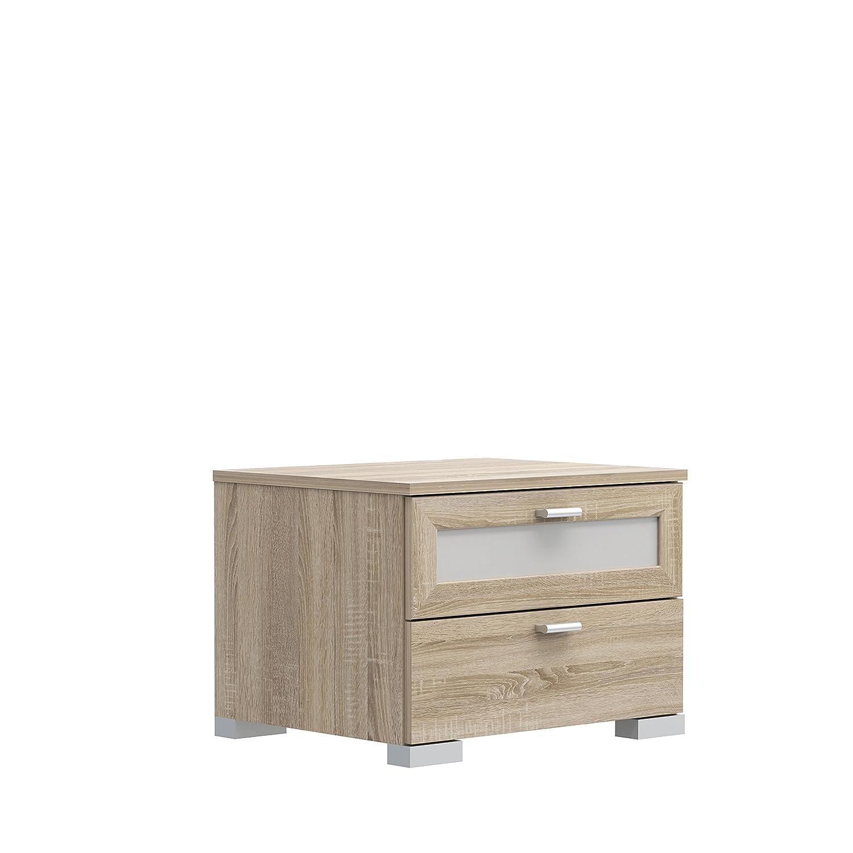 Comodino con 1 cassetto e 1 cassetto in Vetro in Legno Bianco Opaco 50,4 x 41,2 x 36,7 cm 50.4 x 41.2 x 36.7 cm NEWFACE Girona Sonoma Eiche Dekor