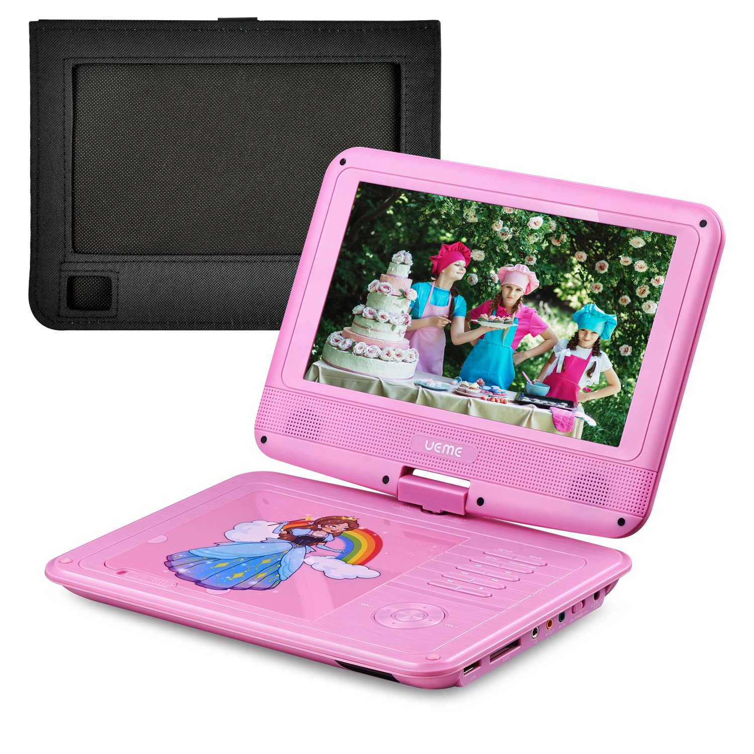 UEME 9'' Portable DVD Player with Swivel Screen, Car Headrest Mount Holder, Remote Control, SD Card Slot and USB Port, Personal DVD Player PD-0093 (Pink)