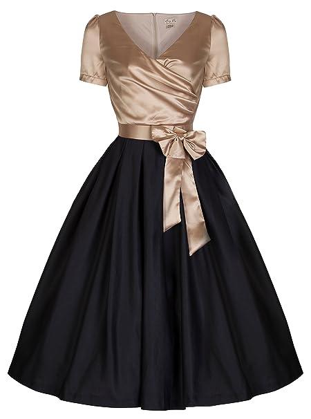 Gina vestido largo con el arco de oro / negro - vintage, años 50,