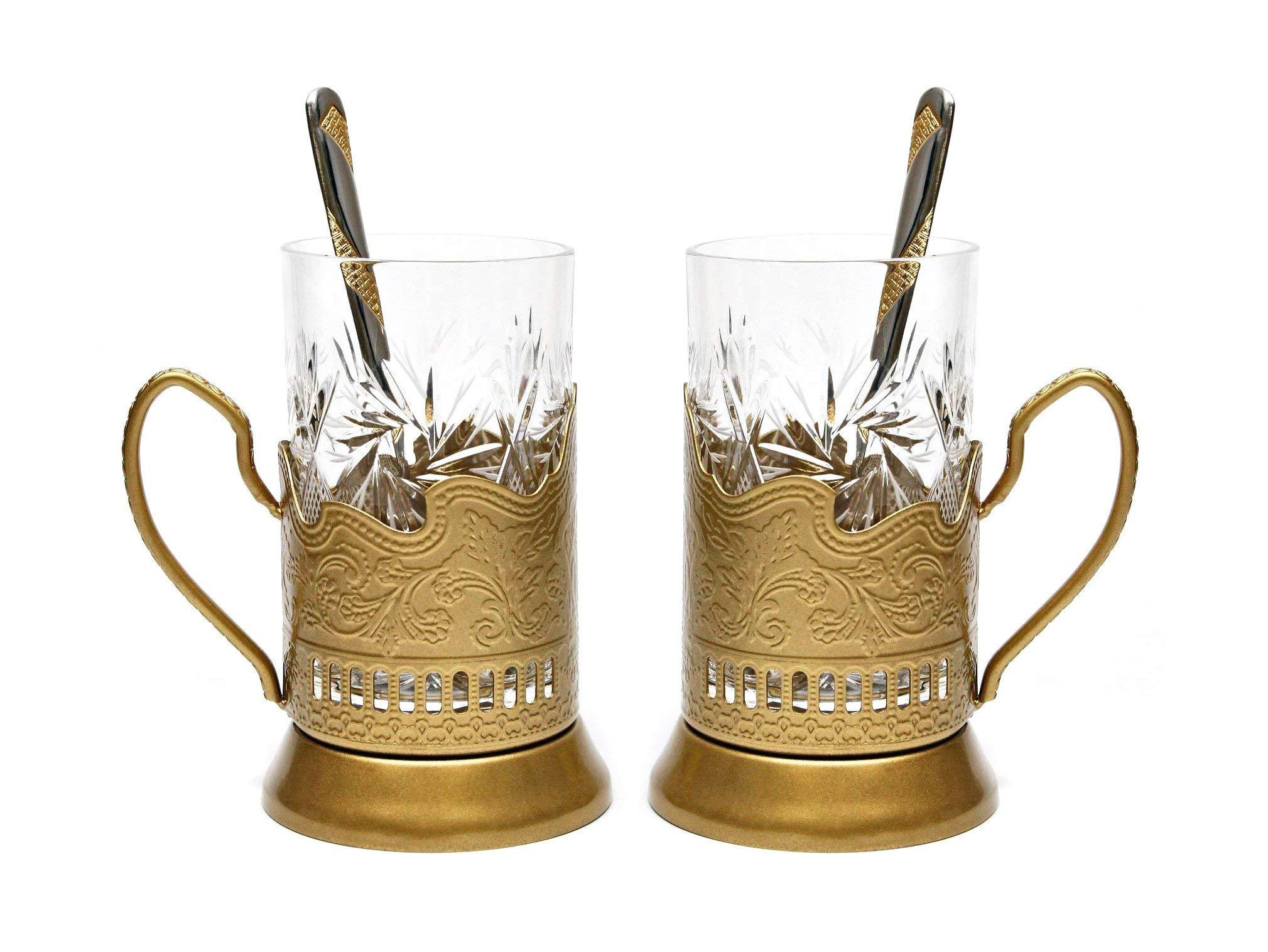 Belarus Gold Combination of 2 Russian Old-Fashioned Cut Crystal Hot Tea Glass 8.5 Oz & Handmade Metal Glass Holder Podstakannik w/Gold-Plated Teaspoon, Vintage Hot or Cold Beverage Drinking Set
