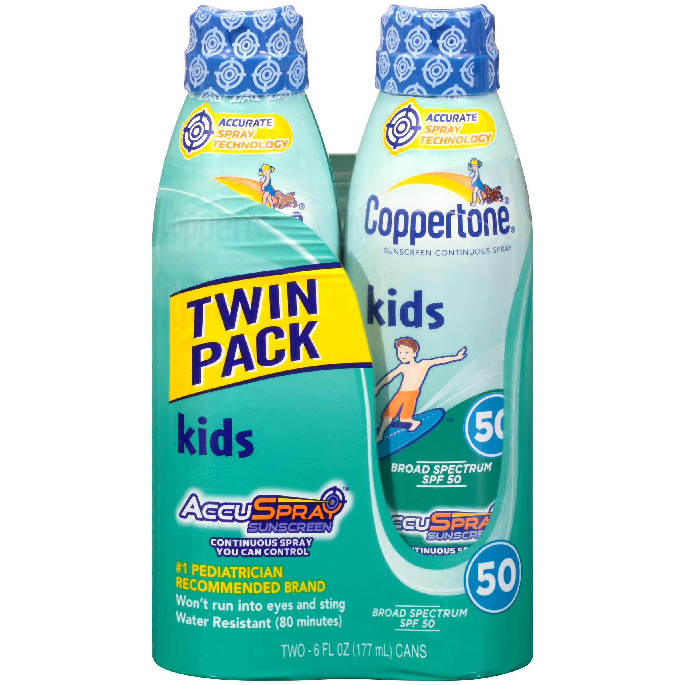 Coppertone Kids Continuous Spray SPF 50 , 6 Ounces (Twin Pack)