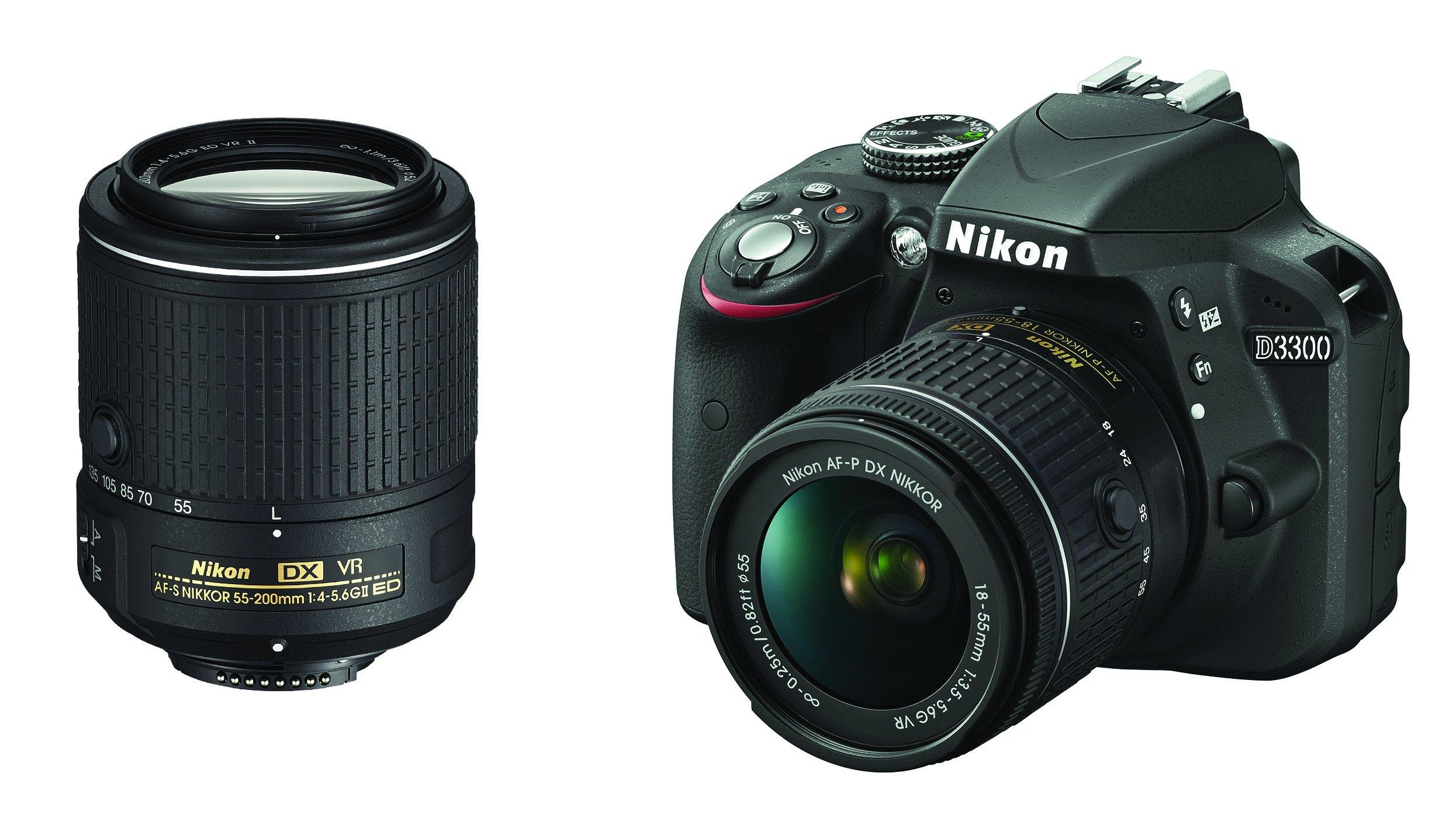 "Nikon D3300 Fotocamera Reflex Digitale con Kit 18-55 VR AF-P e 55-200 VR II, 24,2 Megapixel, LCD 3"", SD da 8 GB 300x Premium Lexar, Nero [Nital Card: 4 Anni di Garanzia] product image"