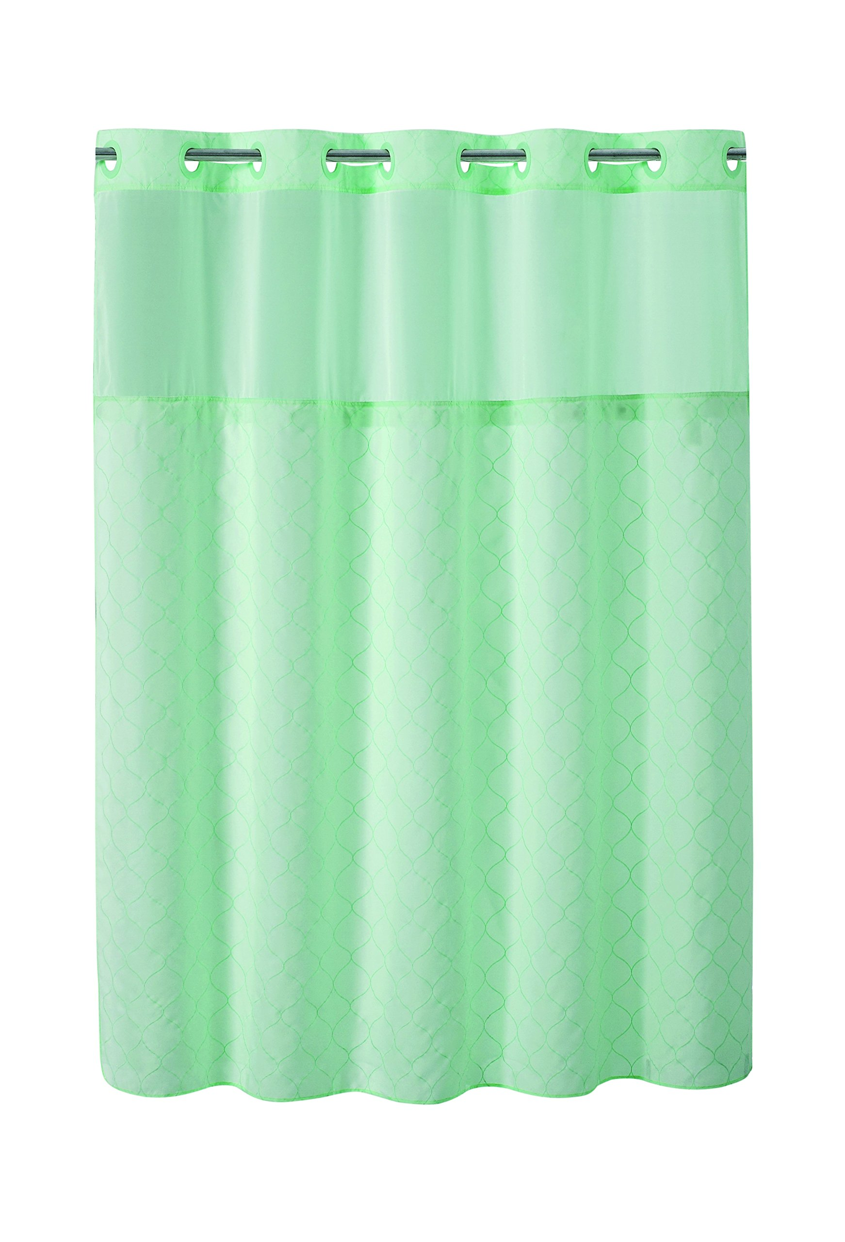 Hookless RBH40MY132 Mosaic Embroidery Shower Curtain with Peva Liner-Aqua
