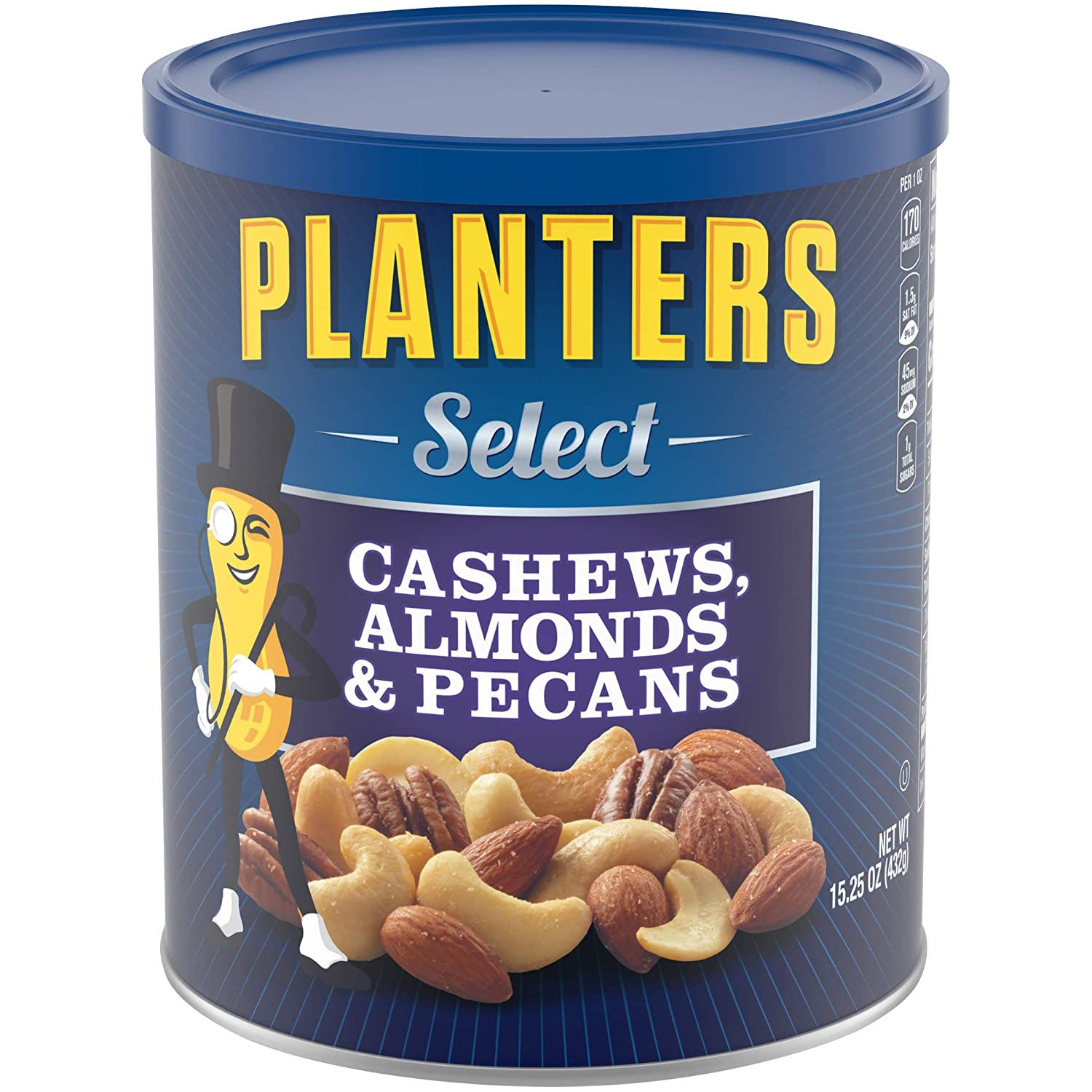 PLANTERS Select Cashews, Almonds & Pecans, 15.25 oz. Resealable Container | Salted Nuts | Kosher