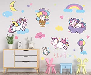 Large Removable Unicorn Decals for Girls Bedroom Playroom Nursery Decor Wall Stickers Decoration for Kids and Toddlers Room Gift Idea for Baby Shower