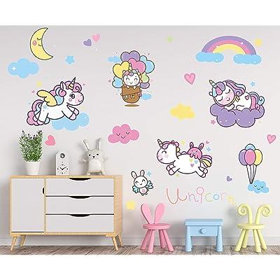 Personalised Unicorn Wall Vinyl Sticker Bedroom Home Kids Children Stars Girls