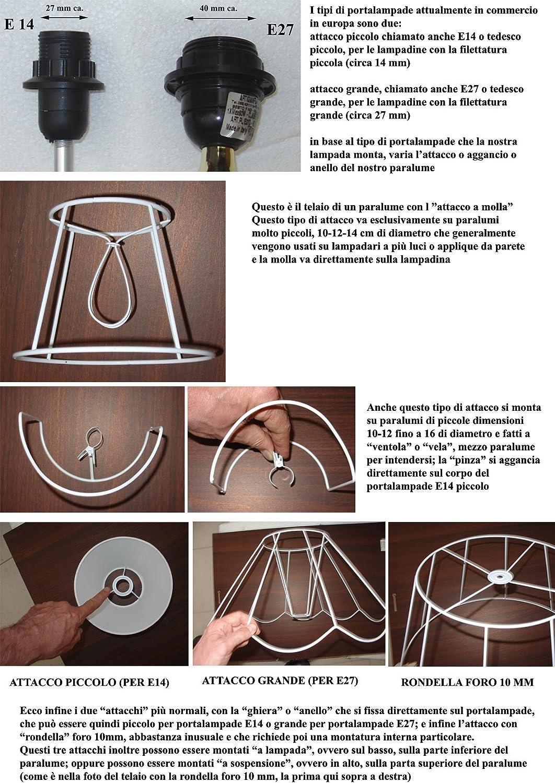 produzione propria made in Italy Paralume coprilampada in tessuto bianco interno oro cilindro, cm 45